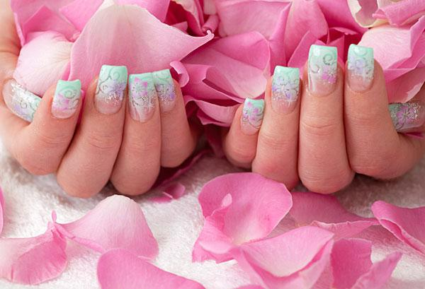 Blue tipped floral nails