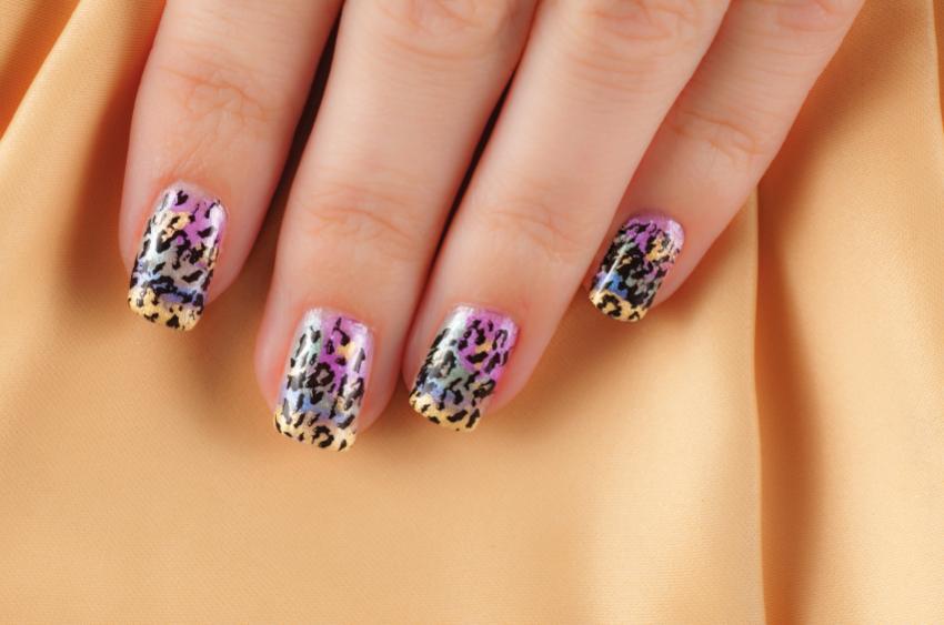 multi-colored leopard nails