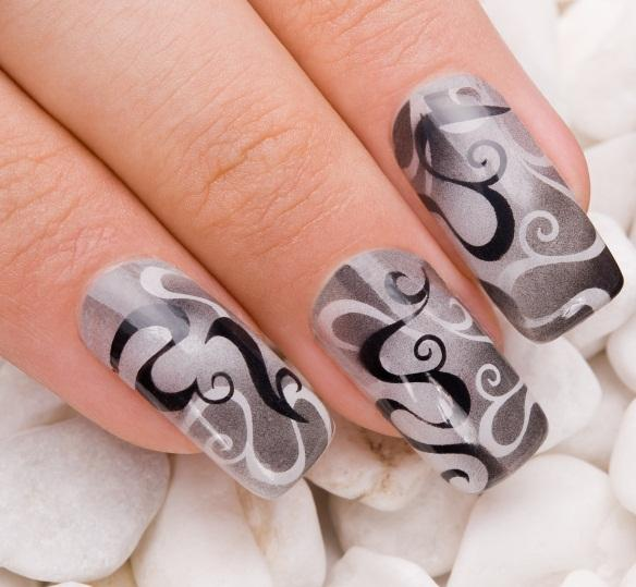 black and white airbrushed nails