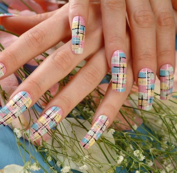 plaid inspired nail design