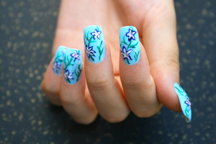 Blue flower crystal nails - Pictures Of Nail Designs With Flowers