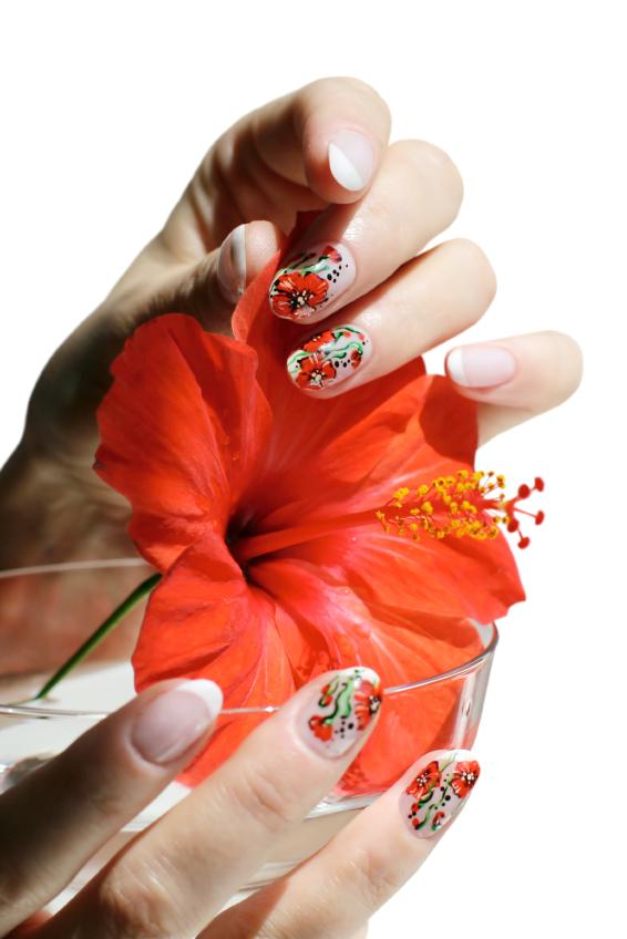 Red hibiscus nail art