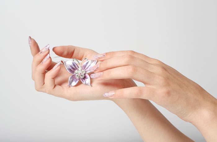 White butterfly nail art