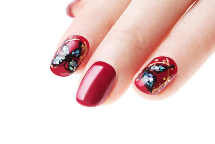 Deep red butterfly nails