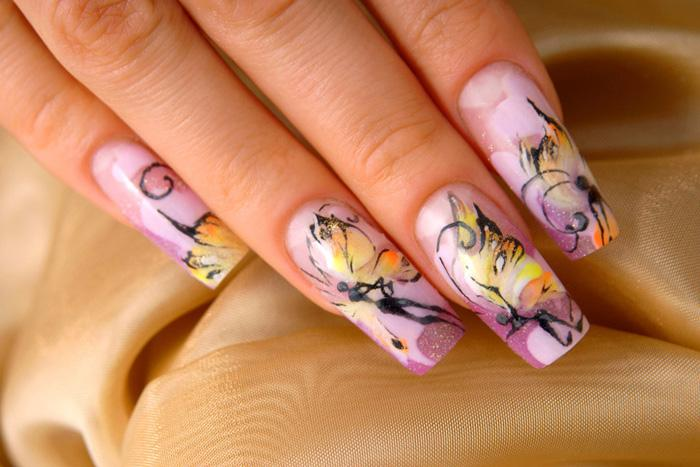 Lavender butterfly nails