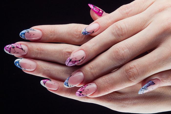 Blue and Pink Butterfly Nails