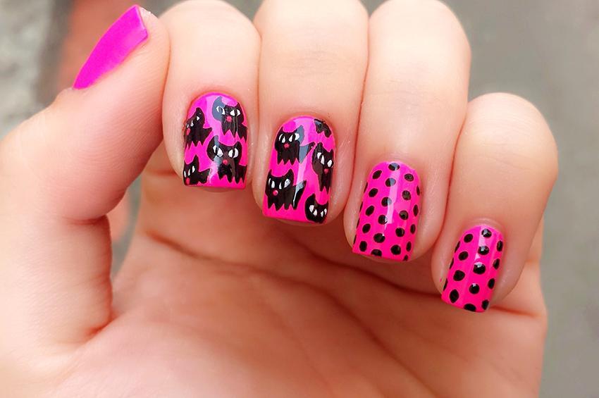 Black Cat and Polka Dot Nail Art