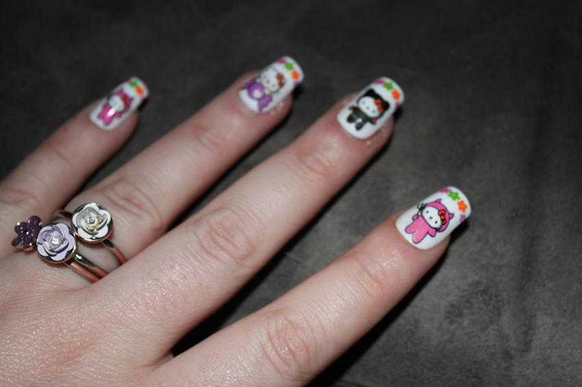 Colorful Hello Kitty Nails