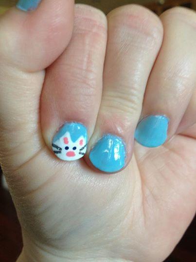 Kitty Cat Nail Art on Pastel