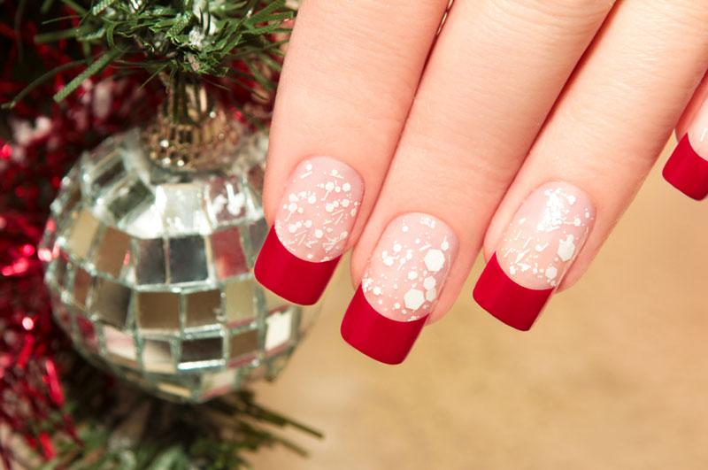 Red Tips With White Splashes - Christmas Nail Art Pictures LoveToKnow
