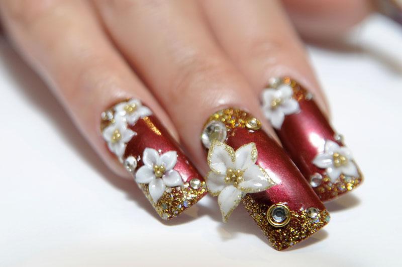 poinsettia nail art