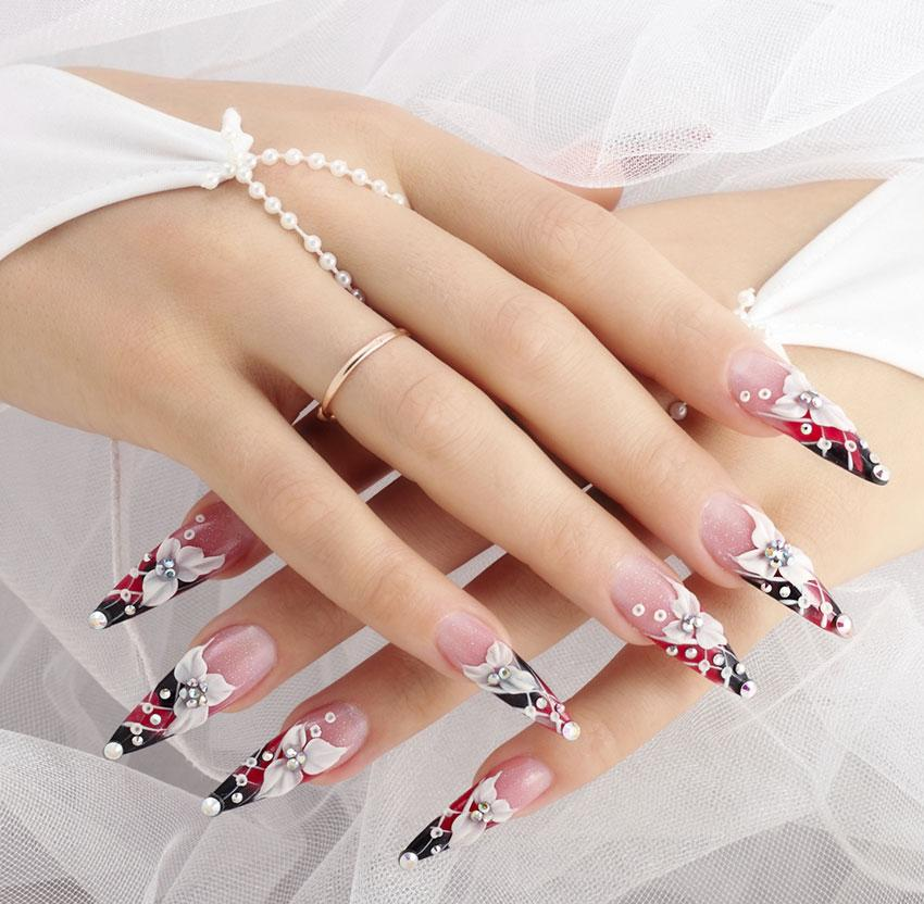 Flower and Rhinestone Nails