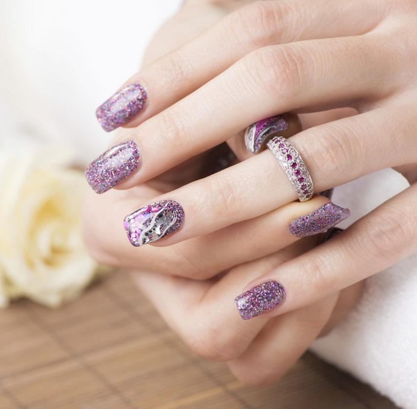 Lavender Sparkle Nails