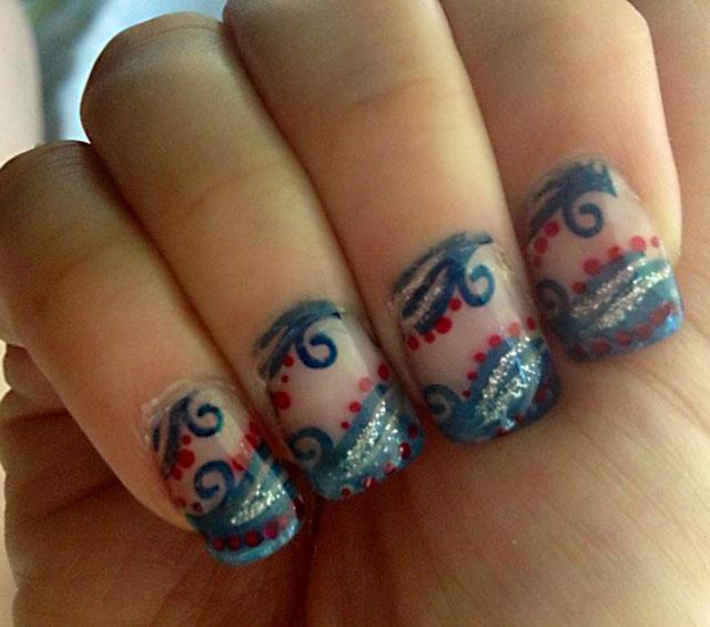 Fancy Blue and Red Nail Art