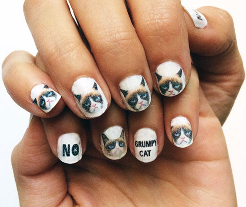 Grumpy cat nail art decals