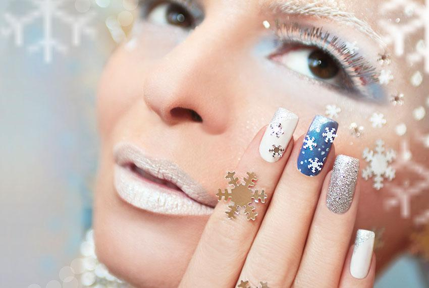 Snowflake and Glitter Nails