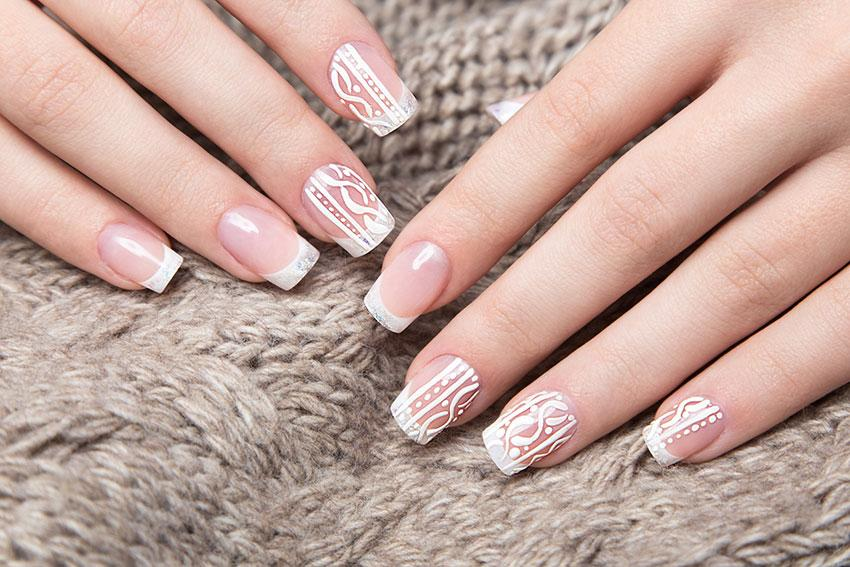 White Cable Nails