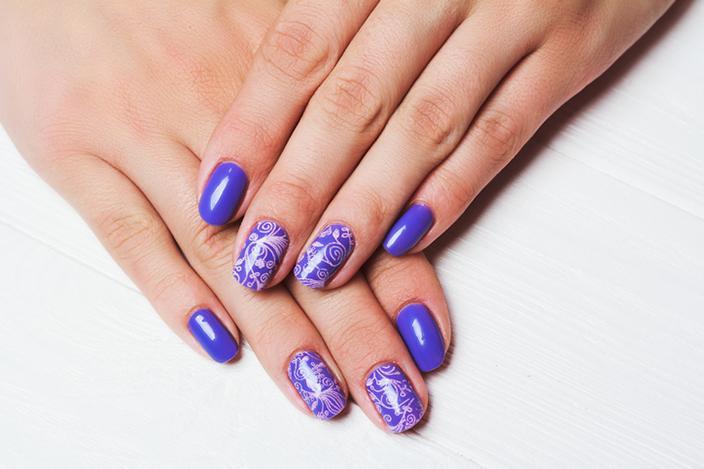 Pink floral design on purple background