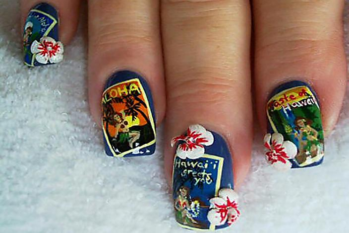 Postcard nails, Compliments of Christies Nails