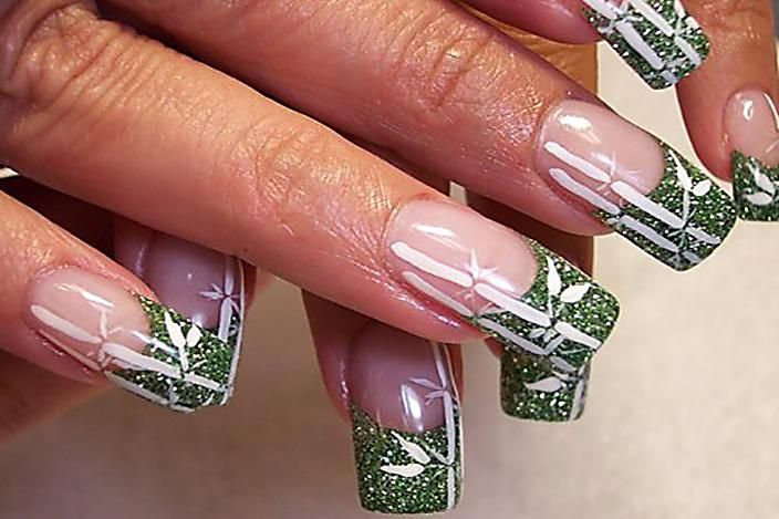 Green glitter and bamboo nails; Compliments of Christies Nails