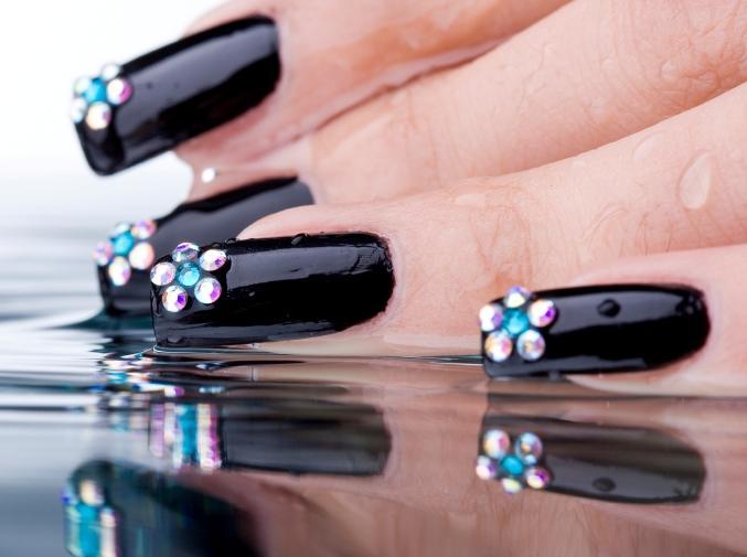 Crystal flowers on black nails