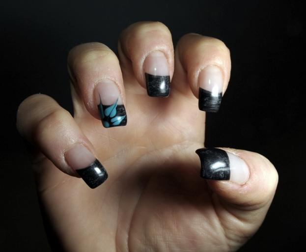black nail tips... French Tip Nail Designs With Glitter