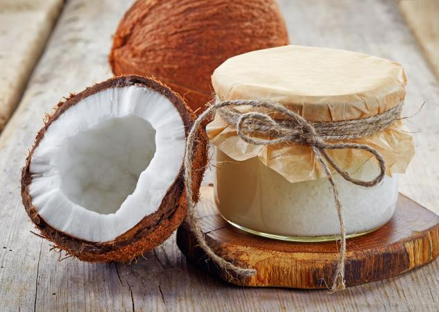 Coconut jar with coconut oil