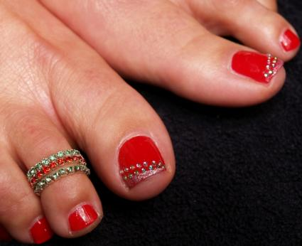 After it has dried, use glittery nail paint on the outer edge of your big  toe. Place the rows of coloured studs using a tweezer, exactly where ... - 30 Best And Easy Christmas Toe Nail Designs - Christmas Celebration