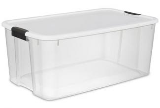 Sterilite 116 Quart Clear Storage Tub With A White Lid And Black Latches