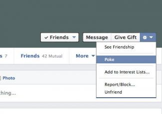 Screenshot of Facebook poke