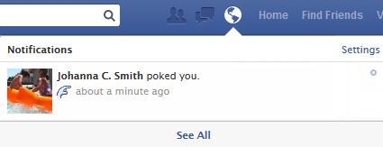 Poke notification on Facebook