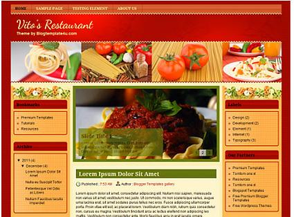 Vito's Restaurant Food Blogger Template from Blogger Blog Templates