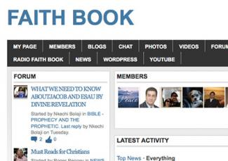 Screenshot of Faith Book website