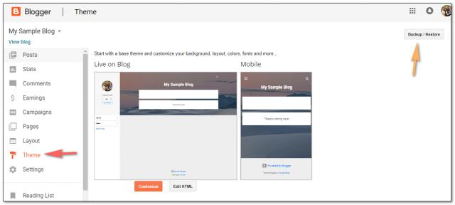 Backing up a blog template in Blogger.