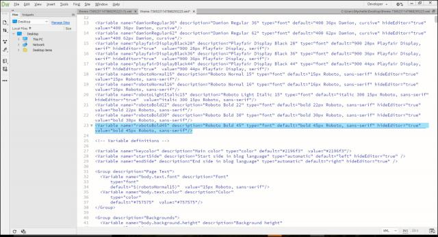 Finding a font variable in the XML file in Dreamweaver.