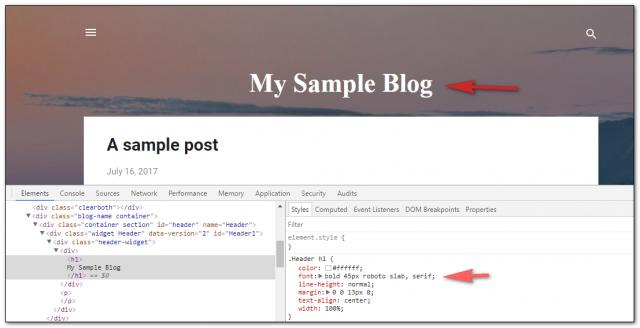 Screenshot of revised font code for header in Blogger template.