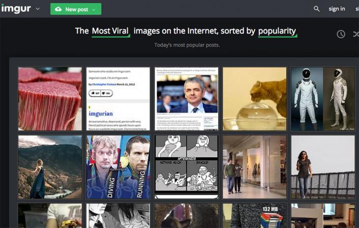 Screenshot of Imgur website