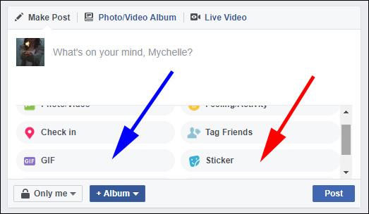 Adding gifs and stickers to Facebook posts.