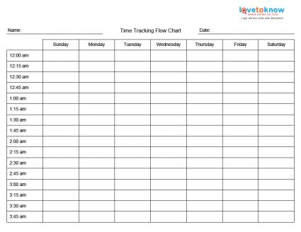 Printables Time Tracking Worksheet printable time management charts tracing flow chart