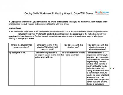 Printables Coping Skills Worksheets coping skills worksheets for adults with stress worksheet ii