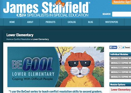 Screenshot of BeCool Lower Elementary Program on Stanfield.com website taken by Lindy Gaskill