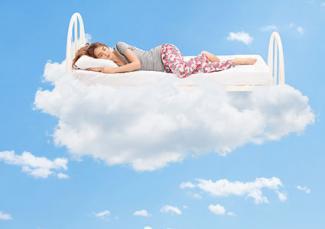 Woman sleeping on a cloud