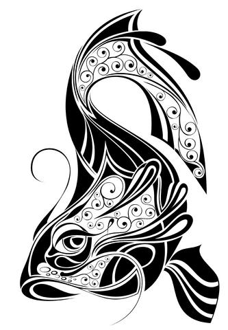 Tribal koi tattoo