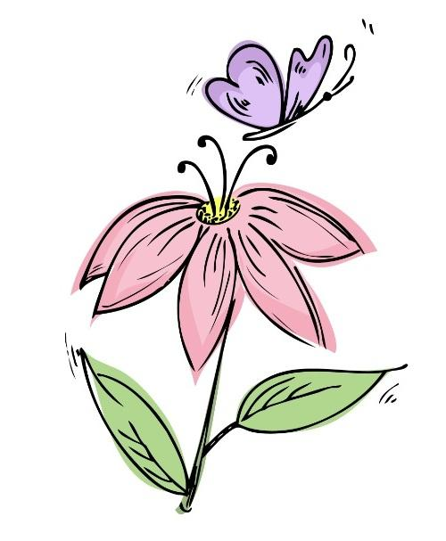Flower and butterfly tattoo design