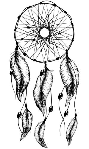 Native american tattoo photo gallery slideshow for Dreamcatcher tattoo template
