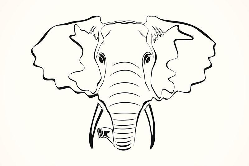 Simple elephant head tattoo - photo#8