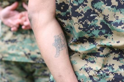 Bulldog tattoo on a marine