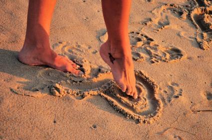 Simple Heart Tattoo On Foot