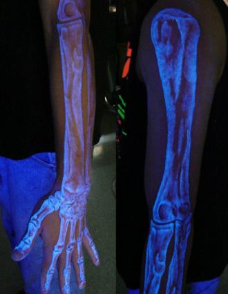 Skeleton blacklight tattoo by Richie Streate, The Dungeon Inc. | Photo courtesy Richie Streate
