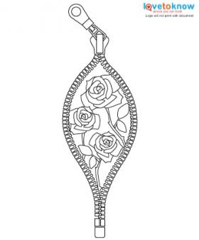Zipper and roses tattoo design